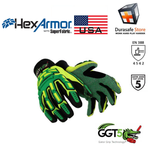 Hexarmor 4020X Gator Grip GGT5 Oil & Gas Industry Impact, Cut & Puncture Resistant Glove Yellow