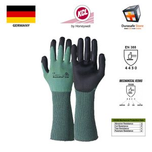 KCL – GERMANY 658 DumoCut PU Coated Cut Resistant Glass Fibre Knit Wrist Glove GreenBlack 14″ Size 8,9,10.