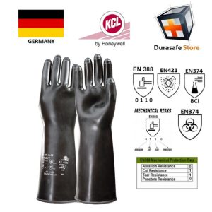 KCL – GERMANY 898 Butoject Extreme Chemical Gas Tight Butyl Rubber Glove Black 14″ Size 8,9,10