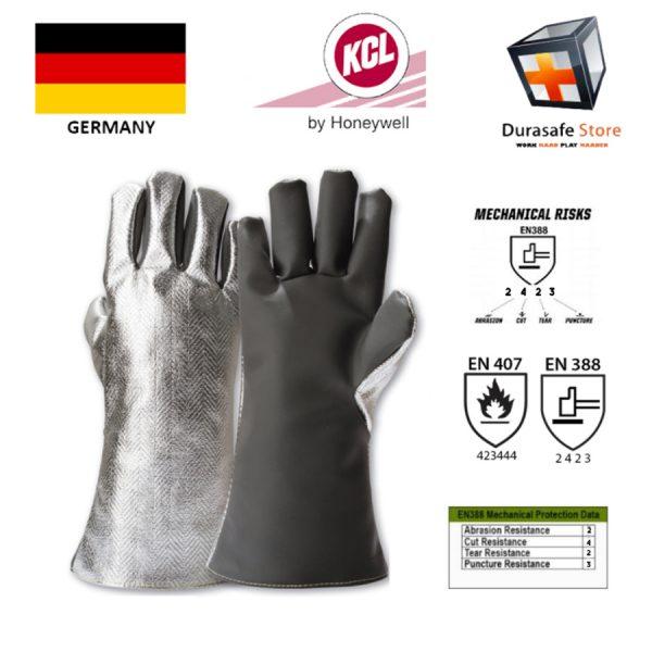 KCL – GERMANY 947 BrassTec Heat Resistant 250ºC482ºF Para-AramidSilicone Aluminium Glove SilverGrey 12″ Size 9,10