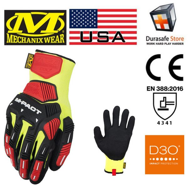 MECHANIX KHD-GP M-Pact Knit CR3A3 Glove Hi-Viz Yellow Size L