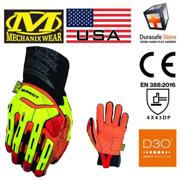 MECHANIX MPCR-91 M-Pact Xplor D4 Glove Hi-Viz Orange Size L