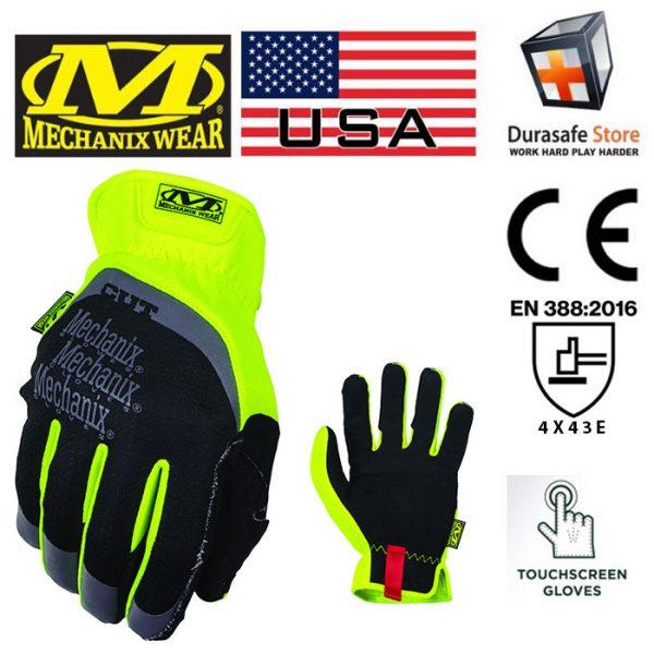 MECHANIX SFF-C91 Cut-Resistant FastFit E5 Glove Hi-Viz Yellow Size L
