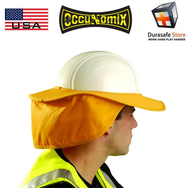 OCCUNOMIX 898 Hard Hat Cotton Sun Shade with Neck Flap Orange, Royal Blue, Yellow, White 1