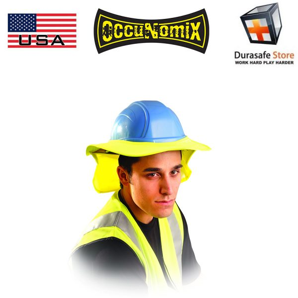 OCCUNOMIX 898 Hard Hat Cotton Sun Shade with Neck Flap Orange, Royal Blue, Yellow, White 2