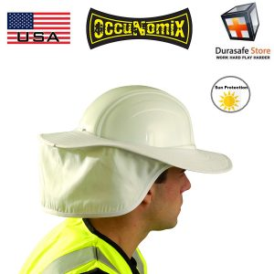 OCCUNOMIX-898-Hard-Hat-Cotton-Sun-Shade-with-Neck-Flap-Orange-Royal-Blue-Yellow-White