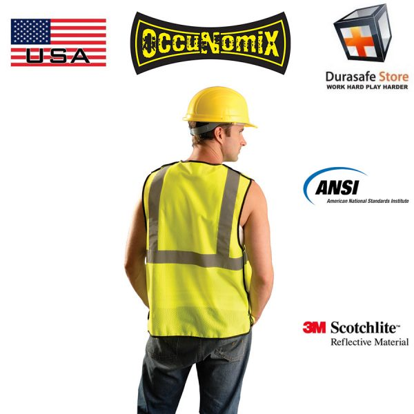 OCCUNOMIX ECO-GCB 5-Points Breakaway High Visibility Mesh Vest Yellow 1