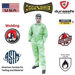 OCCUNOMIX-MIG600-Flame-Retardant-Coverall-MIG-Welding-100-Cotton-Coverall-Green