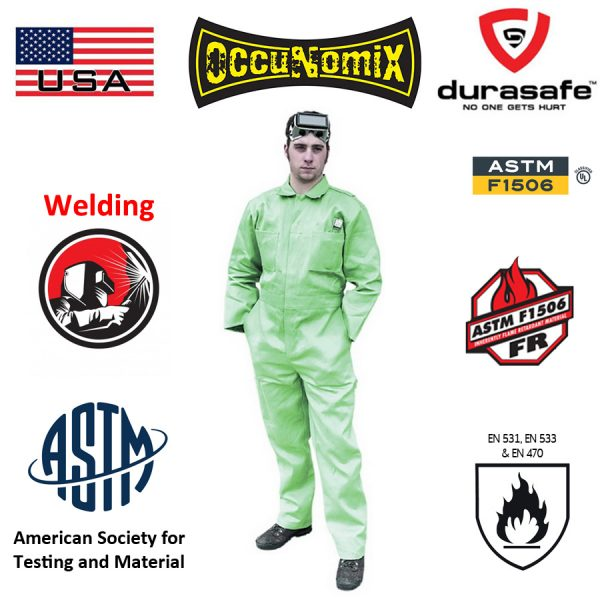 OCCUNOMIX MIG600 Flame Retardant Coverall MIG Welding 100% Cotton Coverall Green