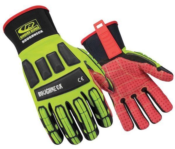 RINGERS 267 Roughneck Impact & Cut Resistant Oil & Gas Rigger Glove Hi-Viz Yellow, USA, Size S – 2XL