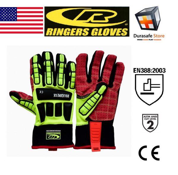 RINGERS 267 Roughneck Impact & Cut Resistant Oil & Gas Rigger Glove Hi-Viz Yellow, USA, Size S
