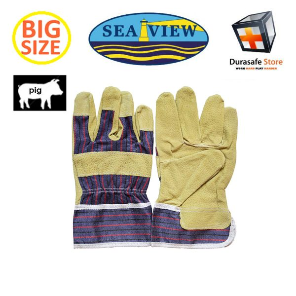 "SEAVIEW™ GL07 10½"" Pigskin Split Yellow Leather Palm Glove Striped Cotton Back 2½"" Safety Cuff Size 9,10"