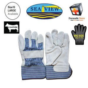 "SEAVIEW™-GL10-10½""-Cow-Split-Gray-Leather-Palm-Glove-Striped-Cotton-Back-with-2½""-Safety-Cuff-Size-910"