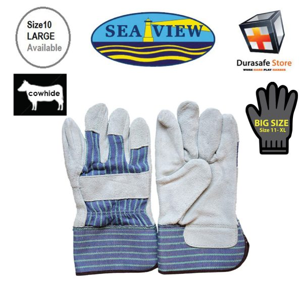"SEAVIEW™ GL10 10½"" Cow Split Gray Leather Palm Glove Striped Cotton Back with 2½"" Safety Cuff Size 9,10"