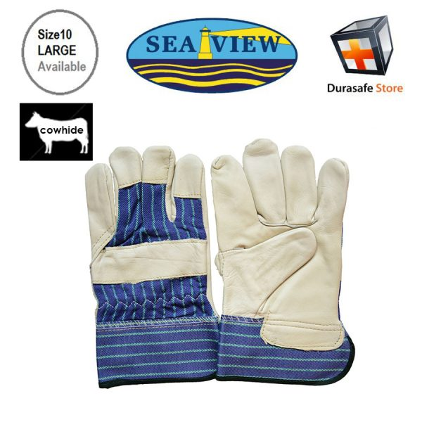 """SEAVIEW™ GL12 10½"""" Cowhide Yellow Leather Palm Glove Striped Cotton Back with 2½"""" Safety Cuff Size 9,10"""