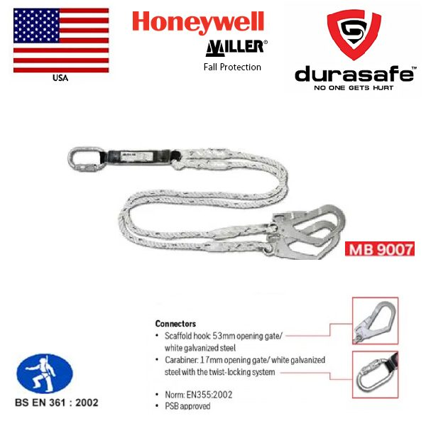 Honeywell Miller MB9007, Safety Dual Lanyard with Shock Absorber