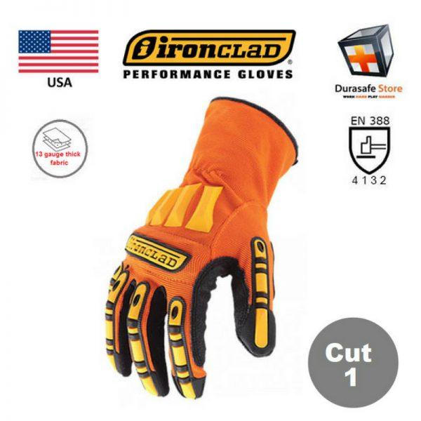 IRONCLAD Kong Super Dexterity Grip Impact & Slip Resistant Mechanics Glove Orange, USA, Size S-2XL