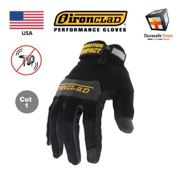 IRONCLAD WWI Vibration Impact 100% Silicone Gel Palm Pads Glove Black