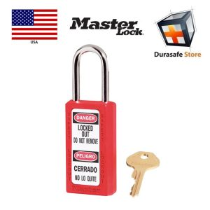 Masterlock-411RED-Thermoplastic-Safety-Padlock