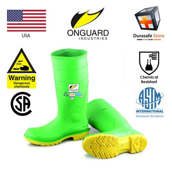 ONGUARD 87012 16″ Hazmax Chemical Resistance PVC Kneeboot Green Size 7-13