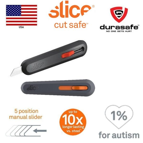 Slice 10550 5 Position Manual Locking Blade Safe Ceramic Blade Utility Knife (1 Pack) Orange