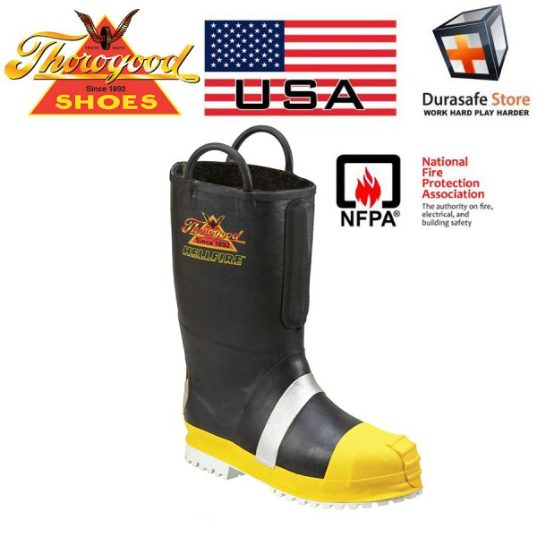 THOROGOOD 807-6003 Hellfire Rubber Insulated Fireman Boot Black, Size 7-11, NFPA 2007, USA
