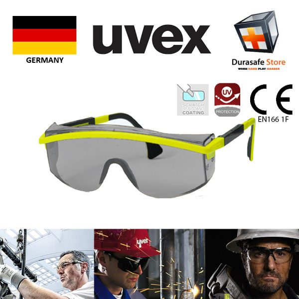 UVEX 9168017 Astrospec Safety Glasses Yellow Black Frame Grey Optidur NC Len