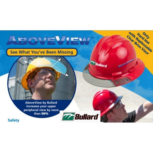 Bullard AboveView Full-Brim White Hard Hat Gray Visor 3