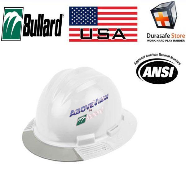 Bullard AboveView Full-Brim White Hard Hat Gray Visor